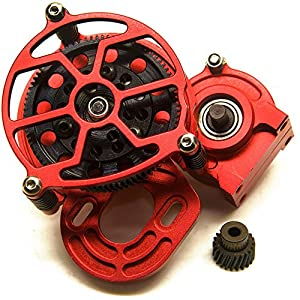 Aluminum Alloy Center Transmission Case /Gearbox with Helical Gear for 1/10 Axial SCX10 RC Crawler Car Red
