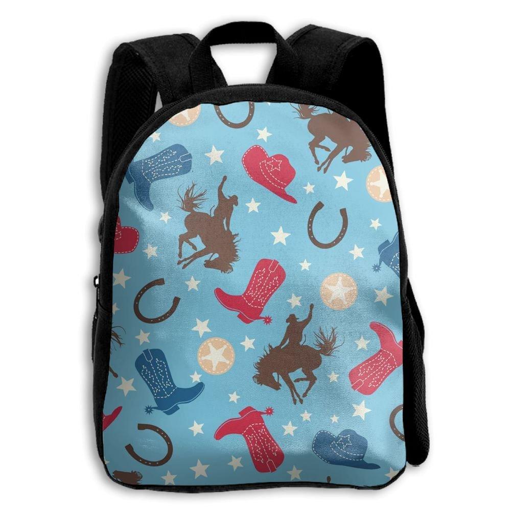 Cowboy Horse Boots Boys Girls Popular Printing Toddler Kid Pre School Backpack Bags Lightweight