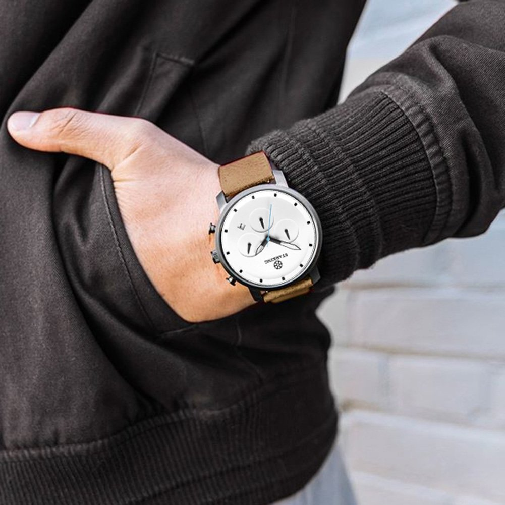 STARKING Top Brand Luxury Mens Chronograph Wrist Watch TM0913 Leather Watch Men Casual Style Fashion Minimal Waterproof Watches Scratch Proof Male by STARKING (Image #4)
