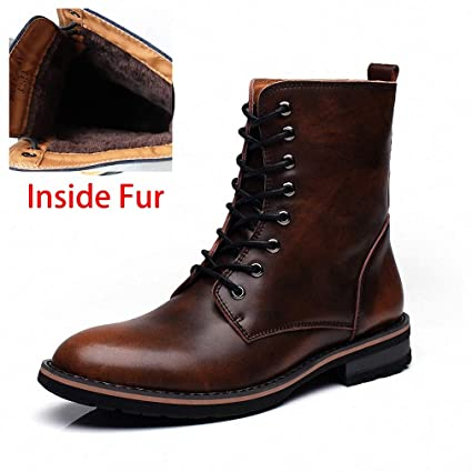 cf953067e4 Tebapi Mens Backpacking Boots Men Motorcycle Boots Vintage Combat Boot  Winter Fur New Cow Split Leather