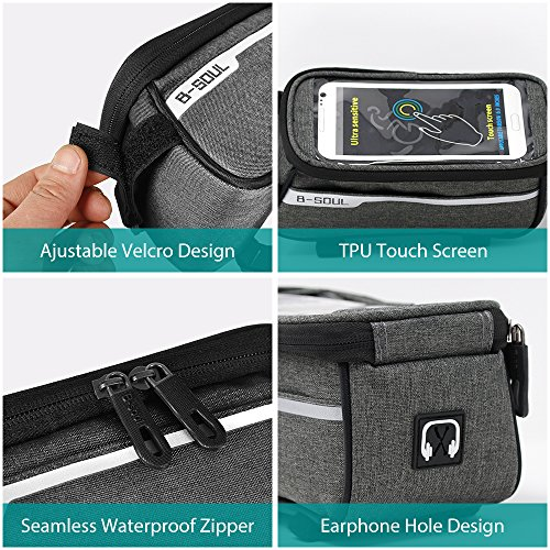 Sporcis Bicycle Bag, Bike Handlebar Bag TPU Sensitive Touch Screen Bike Frame Bag Cycling Front Tube bag Mobile Phone Holder for any Smartphones Below 6.0 Inch, 1L (Gray) by Sporcis (Image #4)