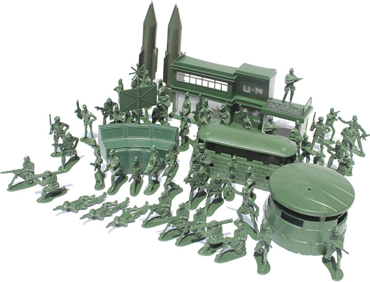 YeahiBaby Militar Soldado de plástico Modelo Toy Army Hombres Figuras Accesorios Kit Decor Play Set 56pcs (Verde)