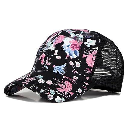 MuLuo Floral Baseball Caps for Men Women Sport Hat Snapback Cap Mesh Outdoor  Sunhat Black 0819cc4d0015