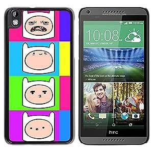 TECHCASE**Cubierta de la caja de protección la piel dura para el ** HTC DESIRE 816 ** Comic Cartoon Smiley Face Colorful Neon