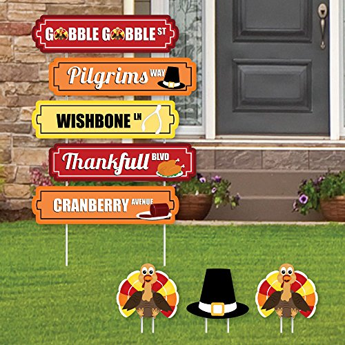 Thanksgiving Cut Out Decorations (Thanksgiving Street Sign Cutouts - Fall Harvest Yard Signs & Decorations - Set of 8)