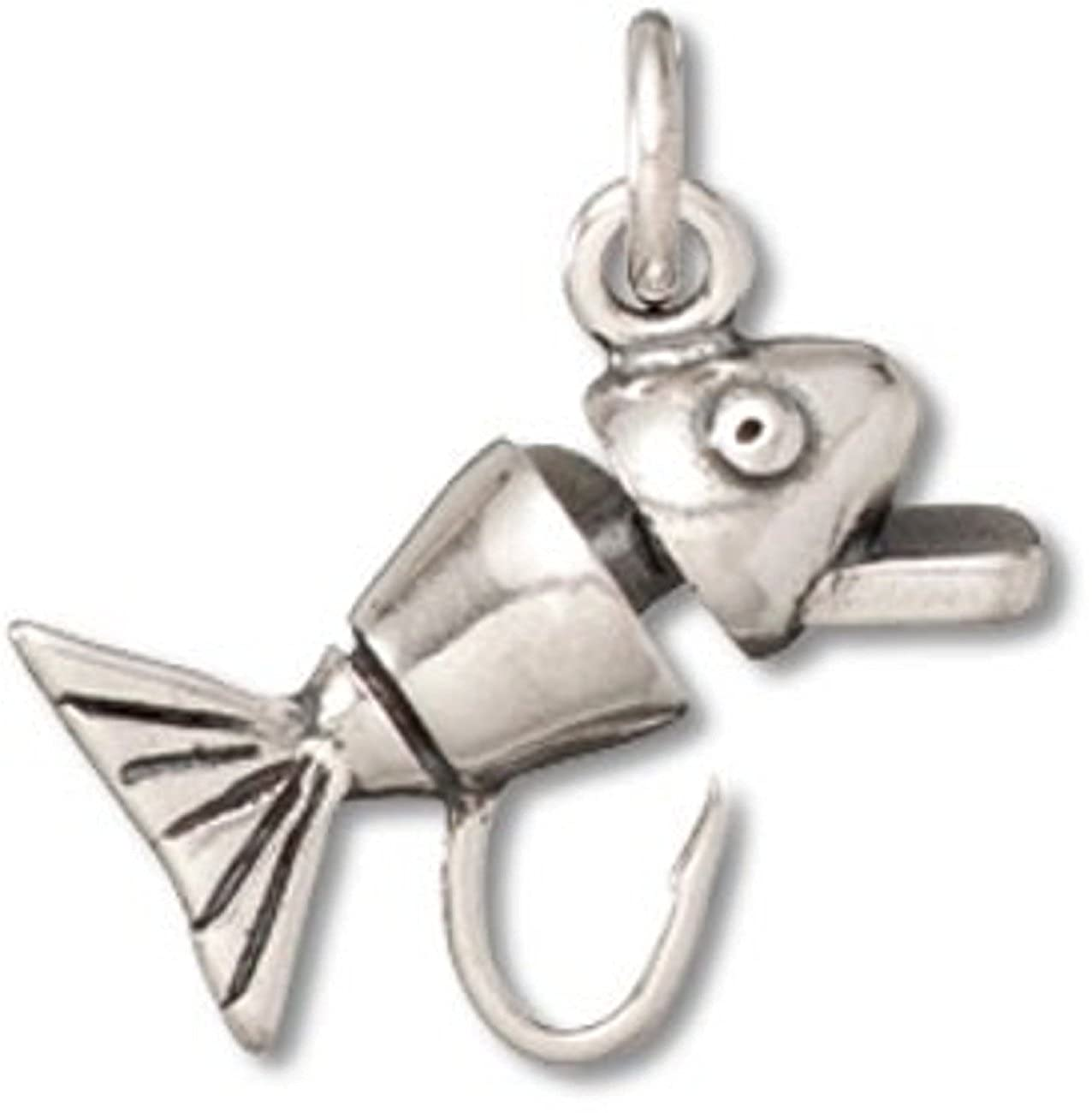 Sterling Silver 7 4.5mm Charm Bracelet With Attached 3D Fishing Hook Lure Charm