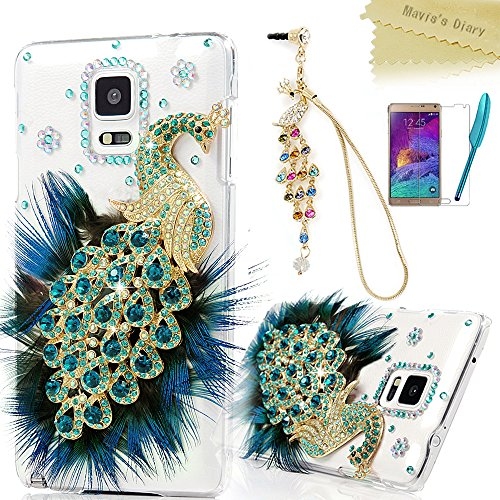 Crystal Cover Case Diamond Hard (Samsung Galaxy Note 4 Case - Mavis's Diary 3D Handmade Bling Crystal Luxury Peacock with Green Blue Feather and Shiny Glitter Sparkly Diamond Rhinestone Clear Hard Back Case Cover for Samsung Galaxy Note 4 SM-N910S SM-N910C with Soft Clean Cloth (One Case&One Colorful Bling Peacock Pendant Dust Plug&One Feather Stylus Pen&One HD Screen Protector))