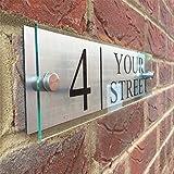Fuli Custom-made Modern House/Hotel Street Sign Plaque Door Number Glass Effect Acrylic Aluminium Name (300/70mm)