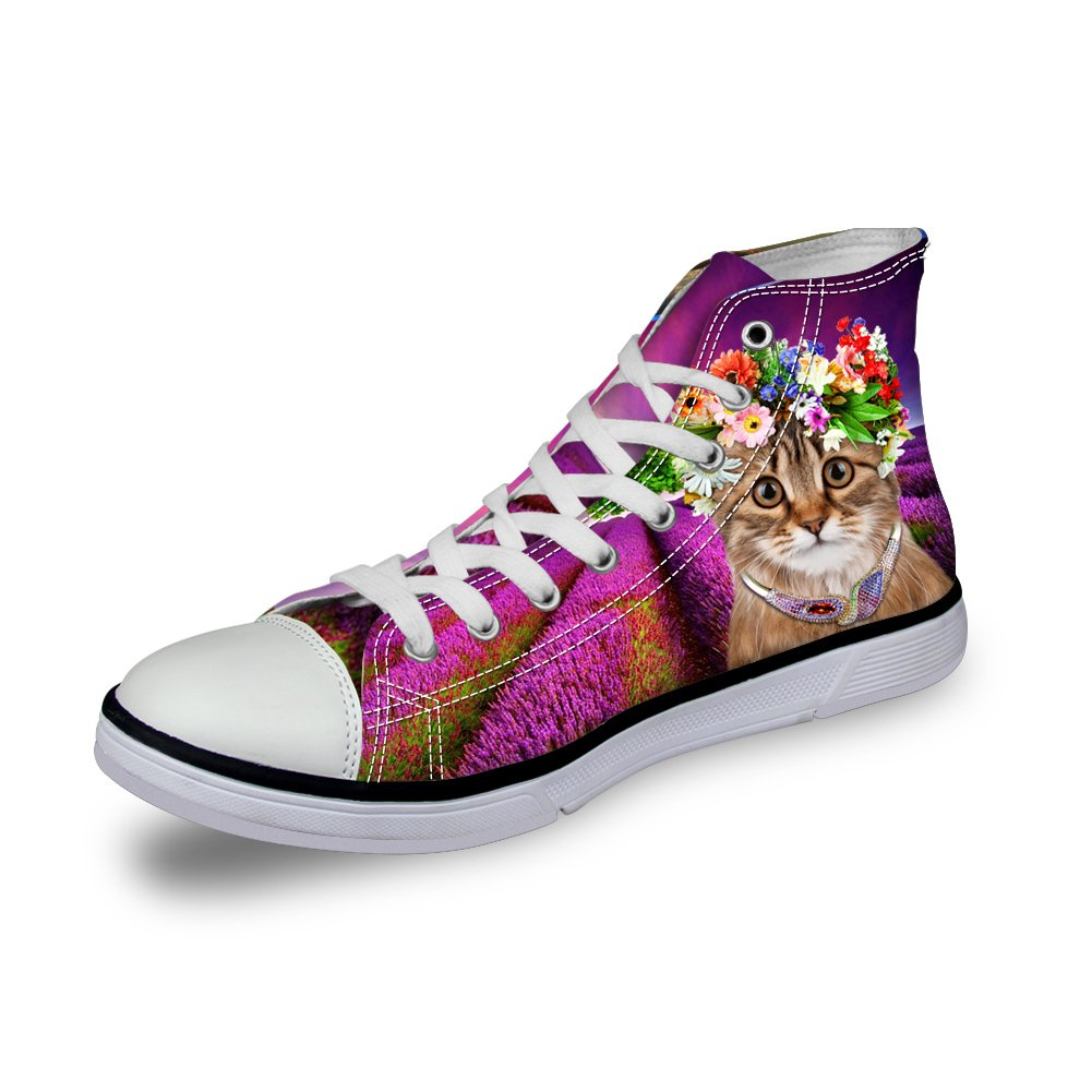 Showudesigns Cute Animal Cat Design Lace-up High Top Canvas Shoes for Women