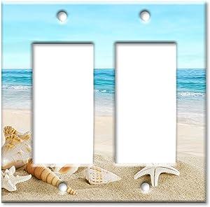 Art Plates 2 Gang Decora - GFCI Wall Plate - Seashells on the Beach