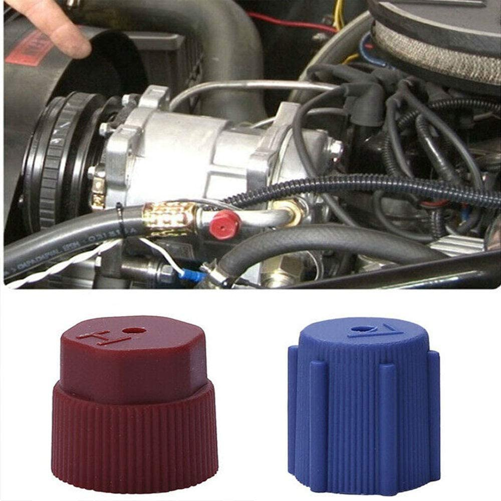 Two 16mm Brown Auto Replacement AC Charging Port R134a Side Caps Two 13mm Blue