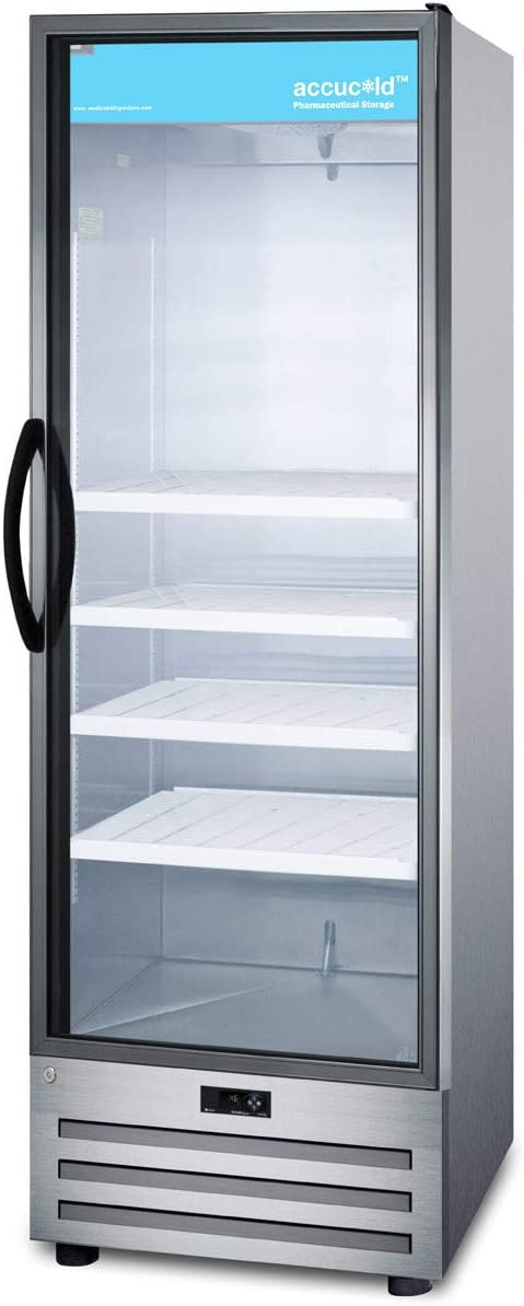 Glass Door Digital Thermostat and a Stainless Steel Interior /& Exterior Cabinet Summit Appliance ACR1415RH Accucold 24 Wide Pharmaceutical All-refrigerator with Right Hand Door Swing Lock