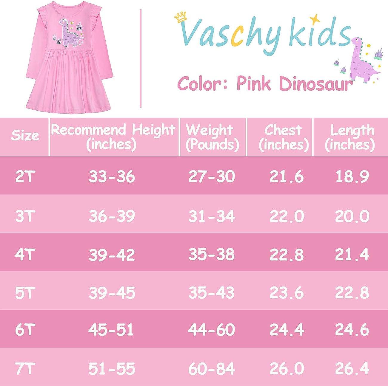 VASCHY Vestito Bambina,Vestito da Ragazza Unicorno Vestito Manica Lunga Maglietta Casual Cotone Abiti Cartoon Animale Sciolto per Bambina 1-7 Anni