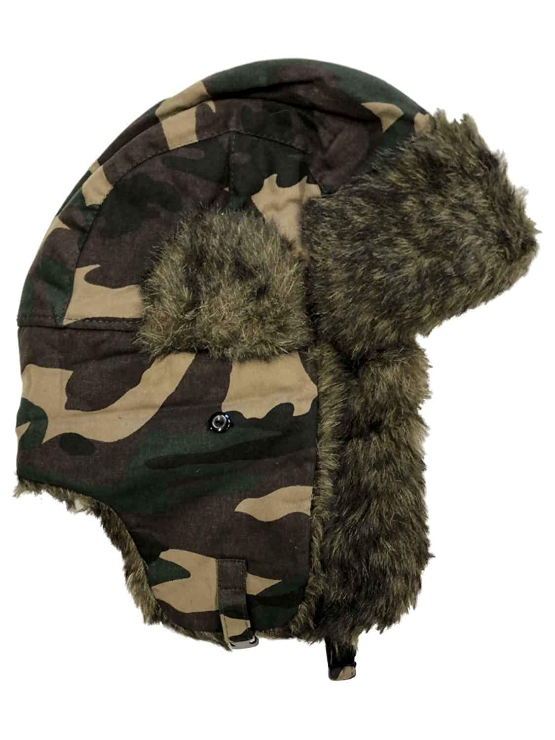 6b3053c69e3 Amazon.com  Ruff Hewn Mens Brown   Green Cammo Trapper Hat with Faux Fur  Trim  Clothing
