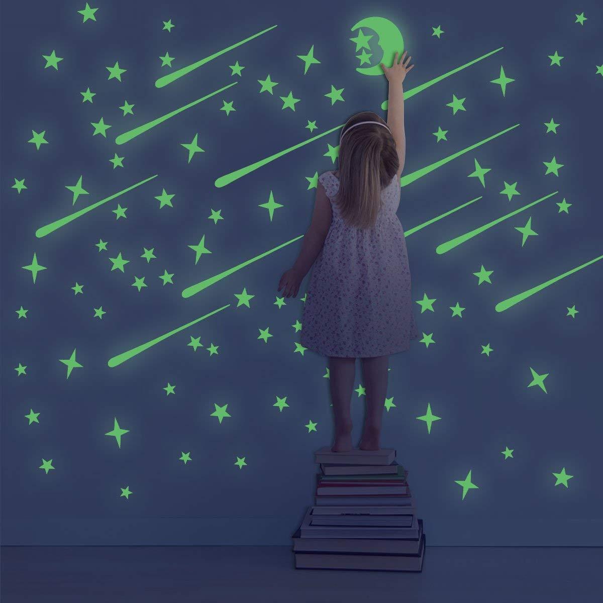 leuchtsterne mond selbstklebend,211St/ück Leucht Sterne Mond Set,Leuchtsticker,sternenhimmel aufkleber,Fluoreszierend sticker,Leuchtsterne Punkten und Mond Wandaufkleber,Leuchtmond.