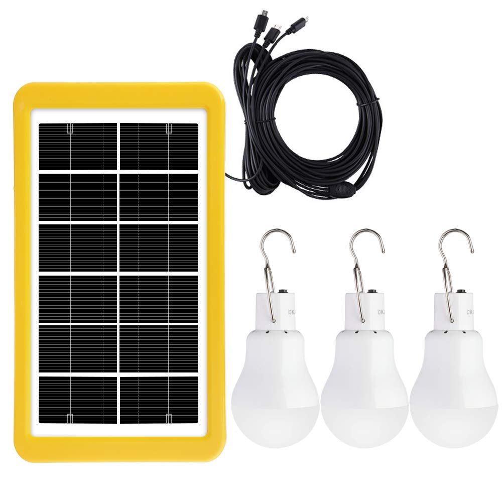 Solar Light Bulb Solar Lamp Portable LED Light Solar Panel Powered Rechargeable Lights with Sensor for Home Shed Barn Indoor Outdoor Emergency Hiking Tent Reading Camping Night Work Light(3 Pack) by IVYSHION