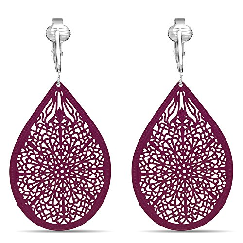 (Lovely Victorian Filigree Clip On Earrings for Women Clip-ons, Lightweight Teardrop Leaf Dangle (Magenta))