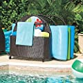 """Espresso Brown Outdoor Resin Wicker Rolling Pool Toy Raft Inflatable Noodle Storage Caddy Rack Organizer 42-1/2""""W x 35""""D x 36-1/2""""H"""
