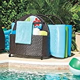 Espresso Brown Outdoor Resin Wicker Rolling Pool Toy Raft Inflatable Noodle Storage Caddy Rack Organizer 42-1/2''W x 35''D x 36-1/2''H