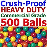 Pack of 500 pcs Jumbo Size 3'' Commercial Grade Heavy Duty Ball Pit Balls - Bright Color non-Toxic Phthalate Free BPA Free non-PVC Plastic Material