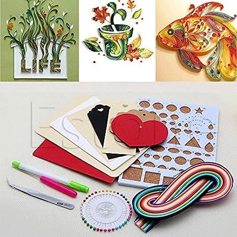 zadaro 150 tiras de papel Quilling Kit de manualidades DIY Junta molde Stright pines pinzas papel Craft conjuntos para bebés de Scrapbooking: Amazon.es: ...