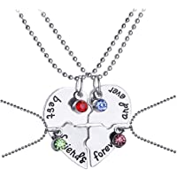 Yellow Chimes 4 Pcs Best Friends Combo Silver Plated Pendant for Girls (YCFJPD-N31BST-SL)