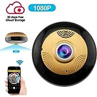 Cámara IP 360 Grados WiFi HD 1080P Detección de Movimiento Visión Nocturna IR Inalámbrica Cámara de Seguridad doméstica Audio bidireccional Asistencia Idioma español