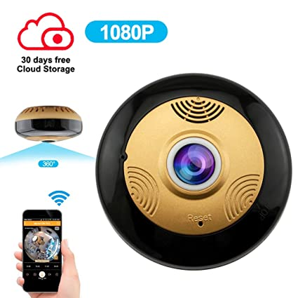 8ac8ad7029a Amazon.com   Wireless Secutity Camera IP Panoramic 360 Degree WiFi Full HD  1080P with Motion Detection IR Night Vision Two Way Audio for Indoor  Monitoring ...
