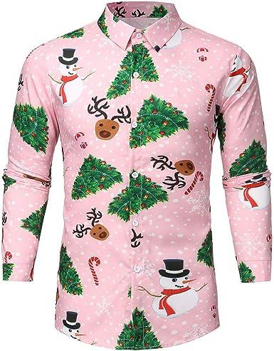 Hombre Camisas Navidad, Manga Larga Casual Navidad 3D ...