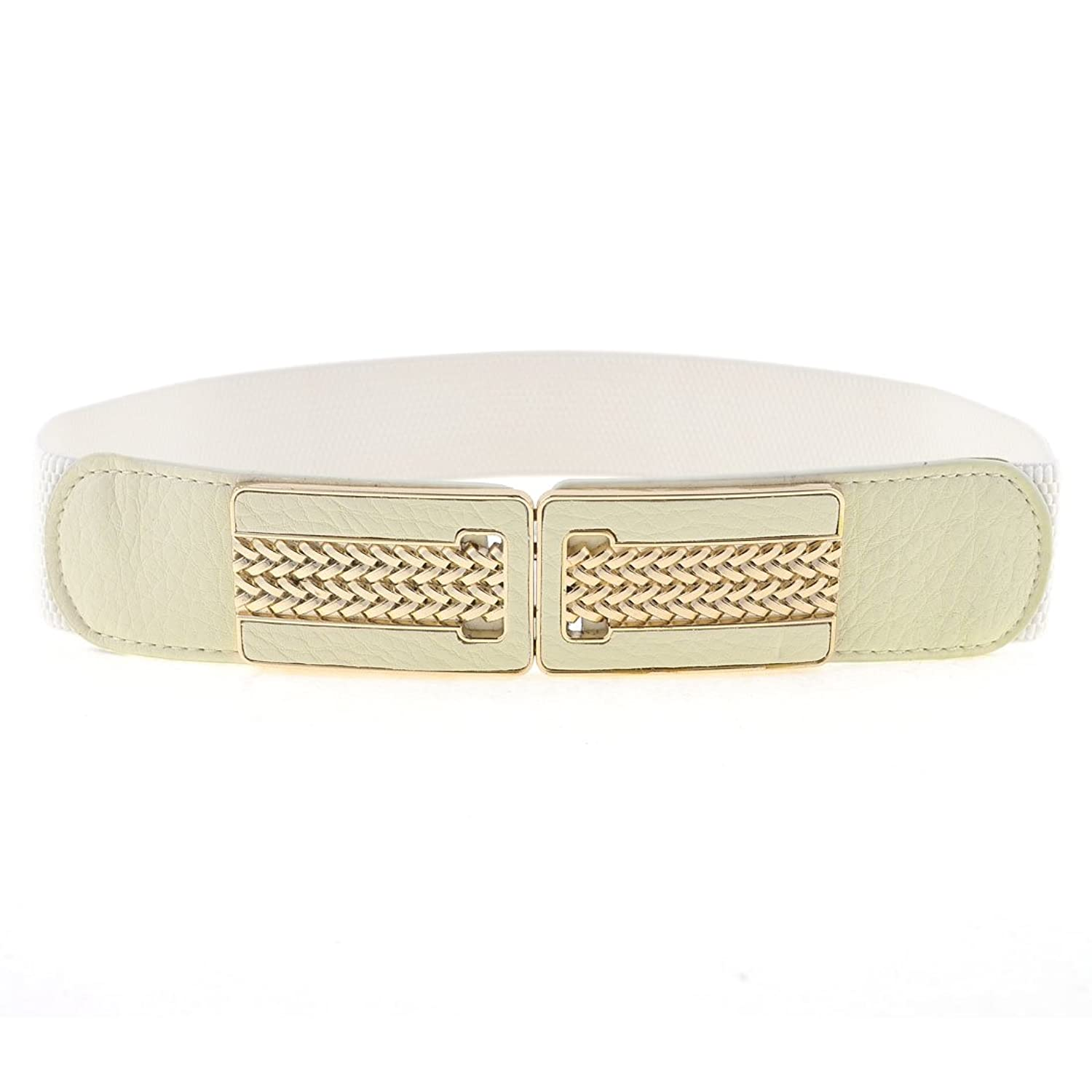 Rectangle Shape Woven Pattern Interlock Buckle Elastic Cinch Belt for Lady
