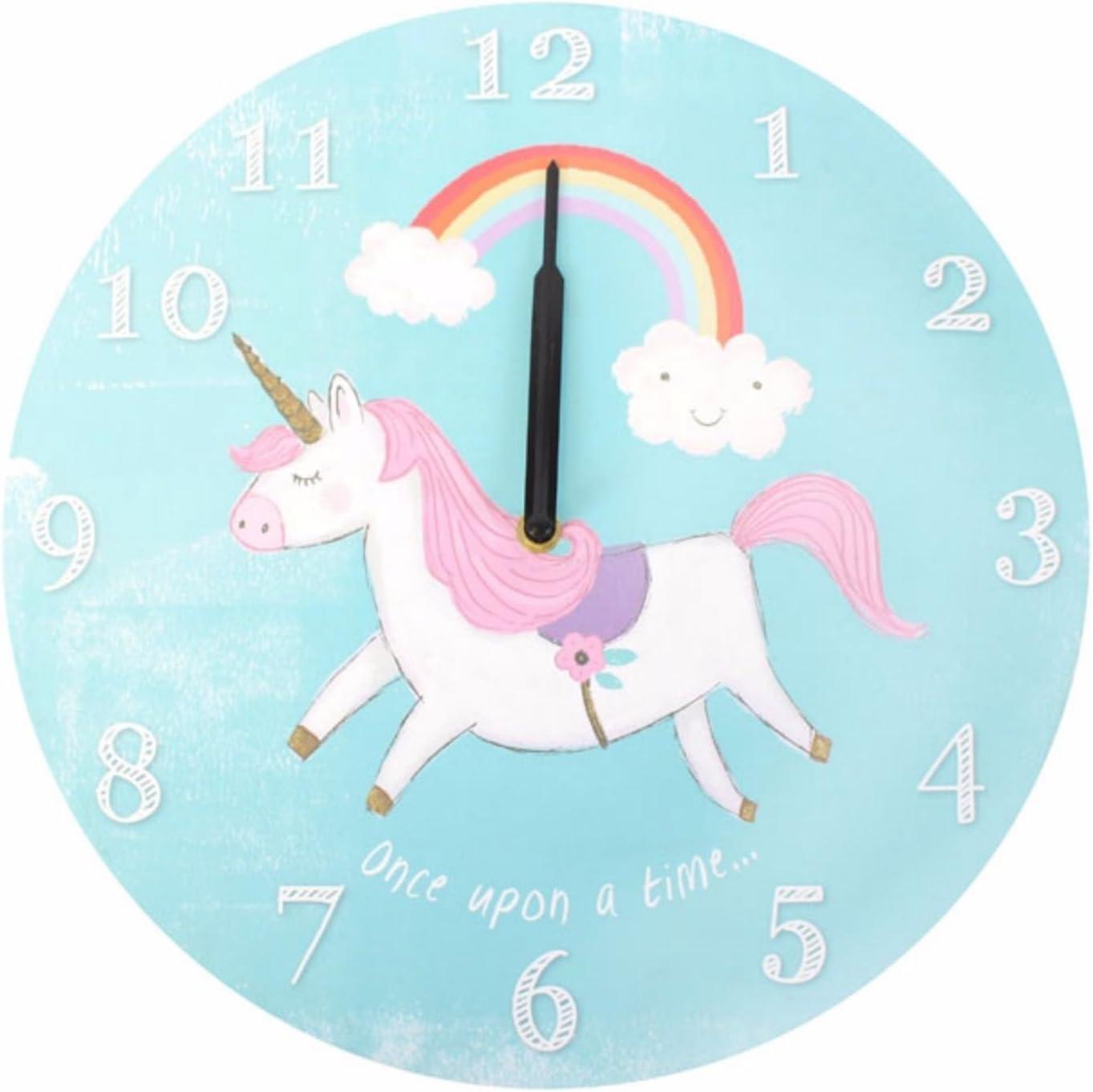 Horloge murale pour enfant rond Licorne Horloge Horloge murale /à piles
