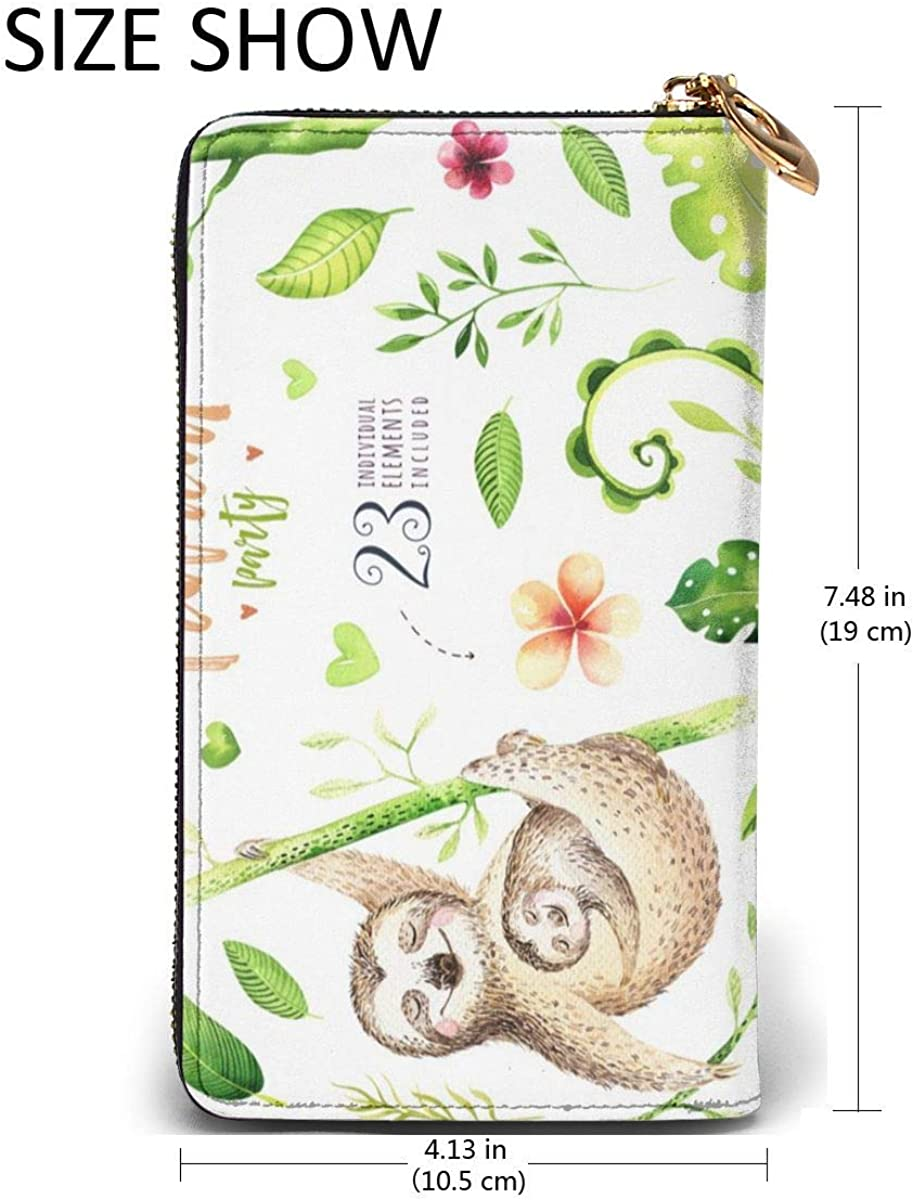 Sloth Sleeping With Bamboo Womens RFID Blocking Zip Around Wallet Genuine Leather Clutch Long Card Holder Organizer Wallets Large Travel Purse