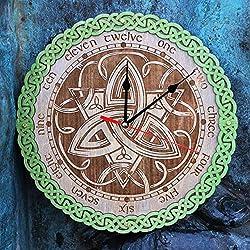 Celtic knots IX Triquetra symbol HANDCRAFTED wooden wall clock, unique kitchen vintage style decor, emerald green, housewarming, Victorian, gift, wall decor, Anniversary Gift, kitchen clocks wall