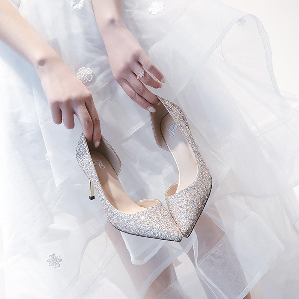 YLLHX Damenschuhe Frühling Sommer Herbst Kristall Bridal Bridal Kristall Brautjungfer High Heels Fein mit Spitzen Hochzeit Prom Zusammen Fairy Sandalen (Farbe : 7.5cm, Größe : UK4/EU36/CN36) 7.5cm bccc9f