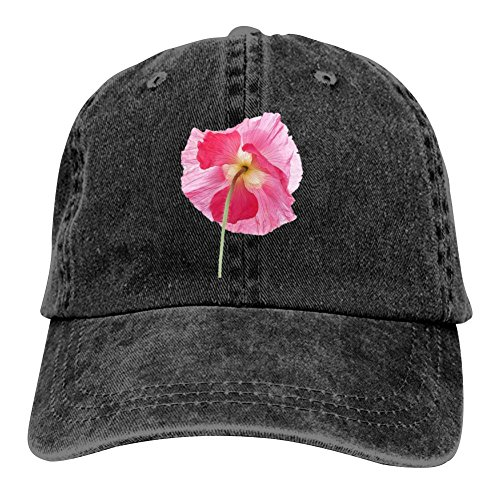 Ringkyo Beauty Flower Washed Dyed Cotton Adjustable Cowboy Baseball Cap Black