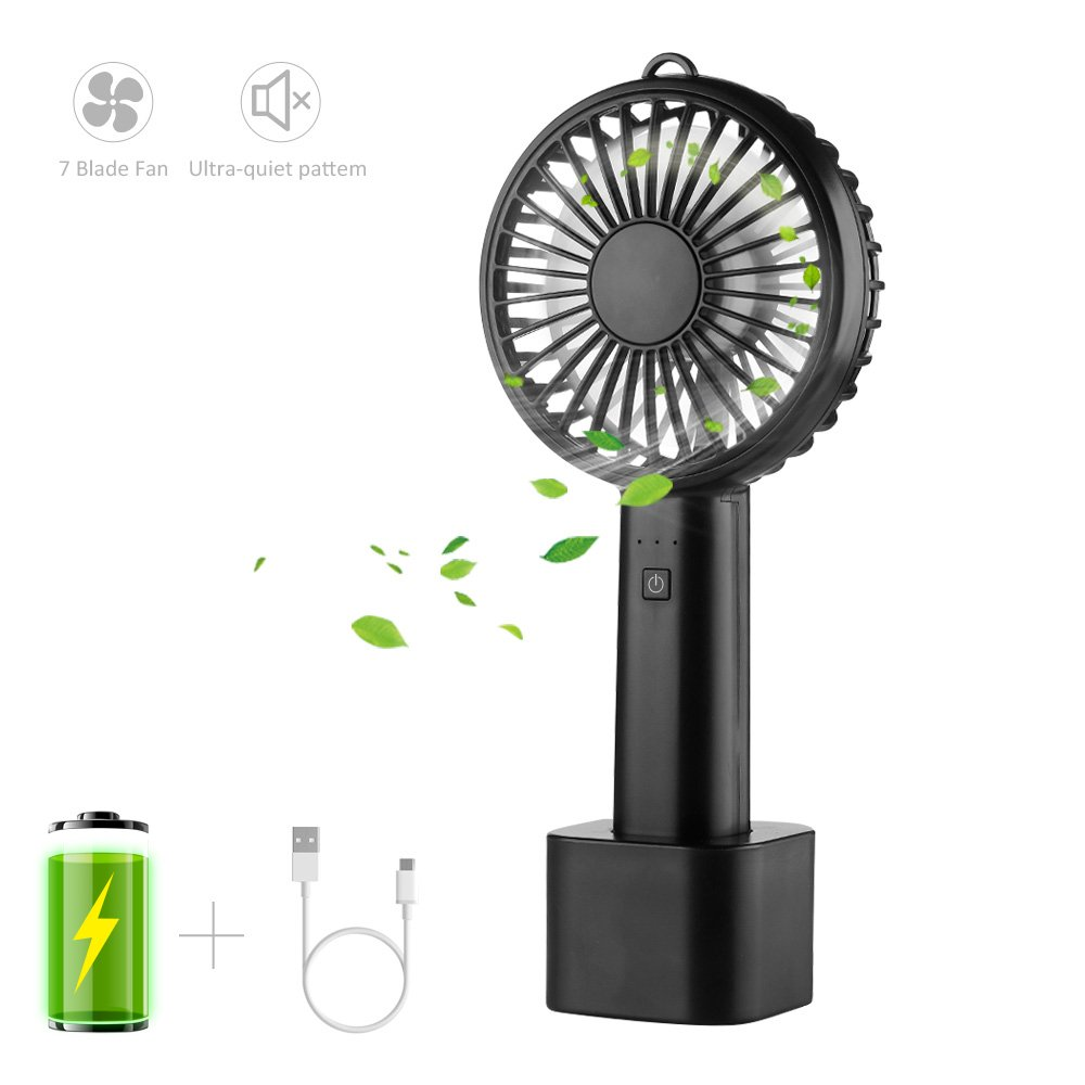 Mini Handheld Portable USB Fan with Rechargeable Battery and Detachable Base by Lobkin