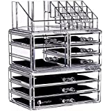 """Cq acrylic 7 Tier Clear Acrylic Cosmetic Makeup Storage Cube Organizer with 8 Drawers. It Consists of 3 Separate Organizers, Each of Which can be Used Individually -9.5""""x6.5""""x11.8"""""""