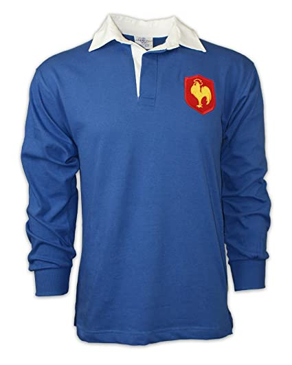 promo code 7a2d5 a3eb4 MEN'S vintage embroidered French crest LONG SLEEVE France rugby SHIRT with  FREE PERSONALISATION from Print Me A Shirt in SMALL - ROYAL BLUE / WHITE