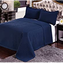 7- Pcs Bed Spread Set- King -Navy-Checkered Quilted Wrinkle-Free Microfiber includes 3-Pcs Coverlets Set and 4-Pcs sheet set.