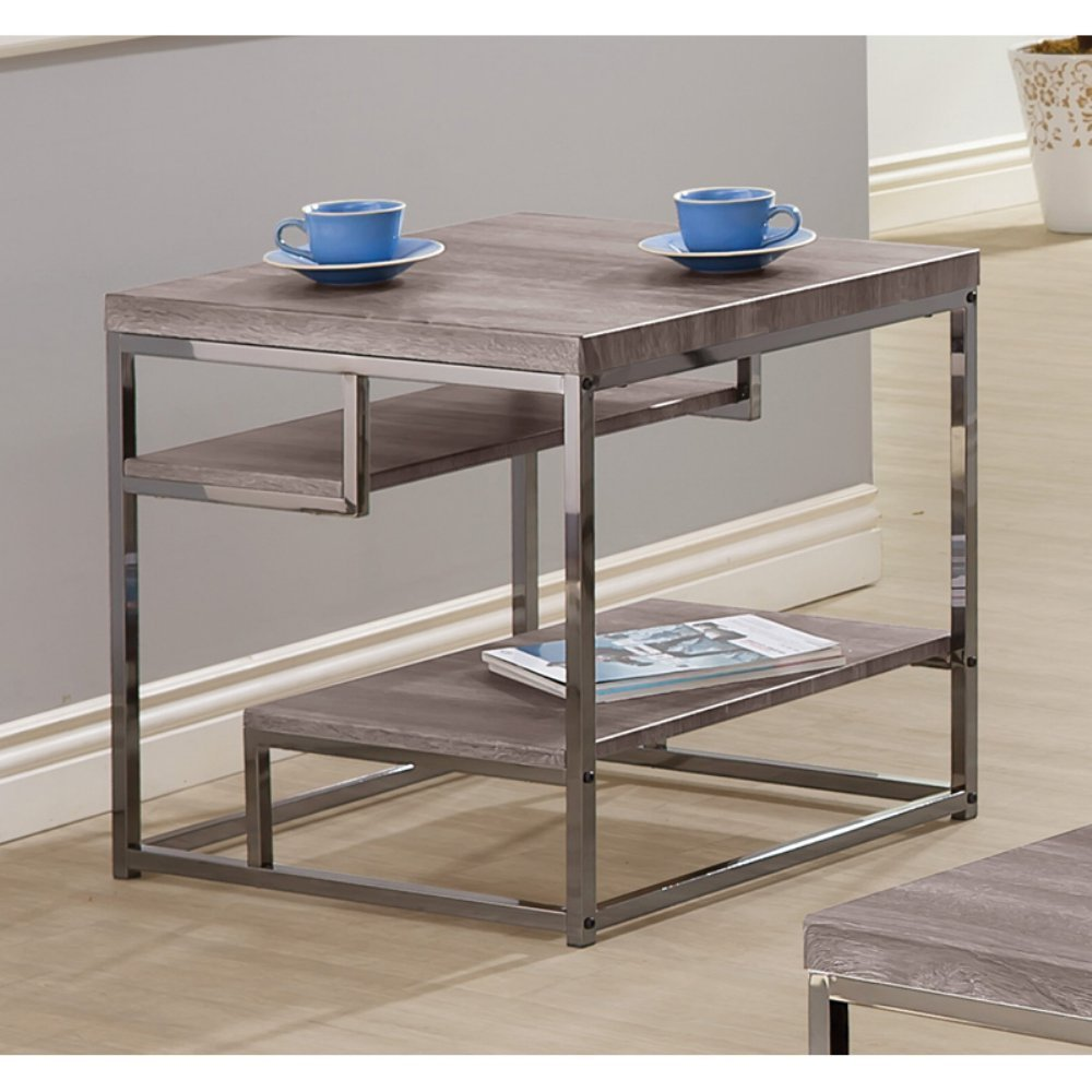 Coaster Home Furnishings 2-Shelf End Table Weathered Grey and Black Nickel