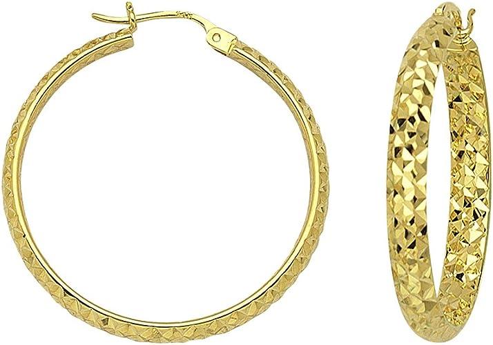 10KT GOLD POLISHED HOOPS 3//30MM HOOP EARRINGS