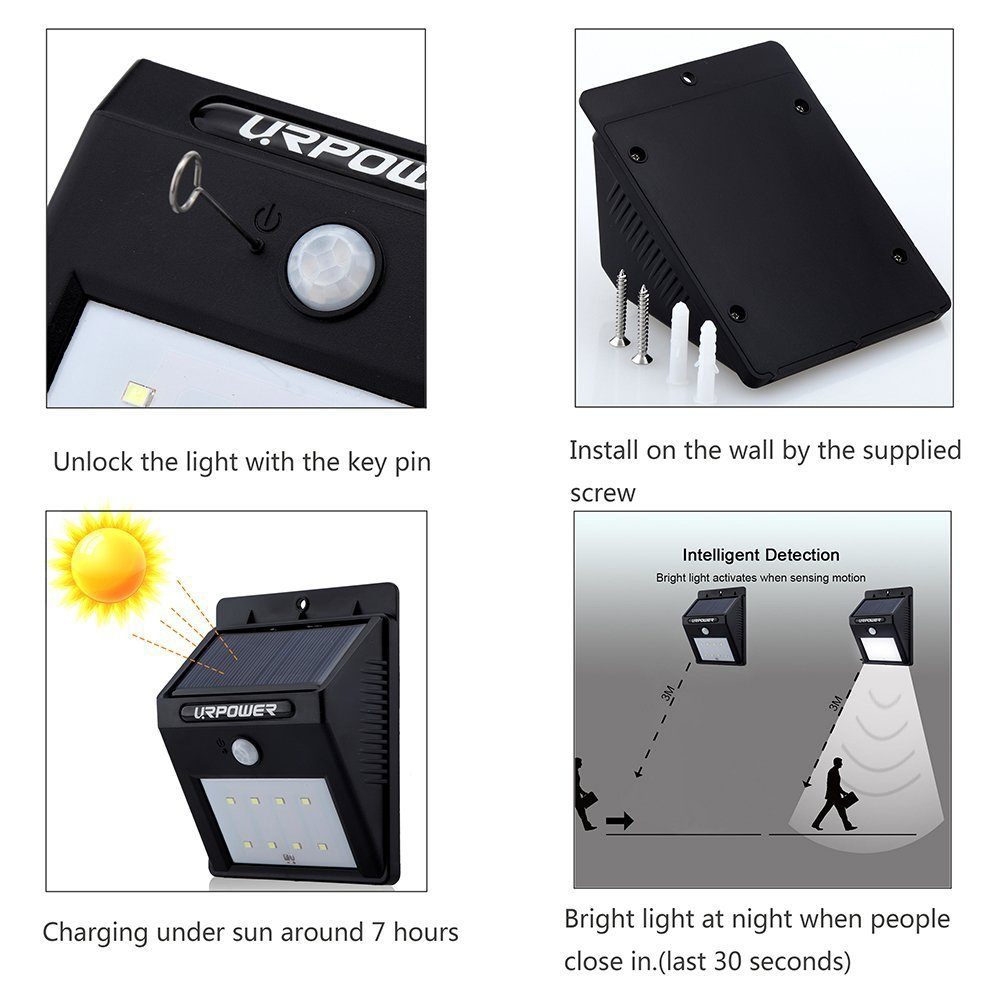 URPOWER Solar Lights 8 LED Wireless Waterproof Motion Sensor Outdoor Light for Patio, Deck, Yard, Garden with Motion Activated Auto On/Off (4-Pack) by URPOWER (Image #2)
