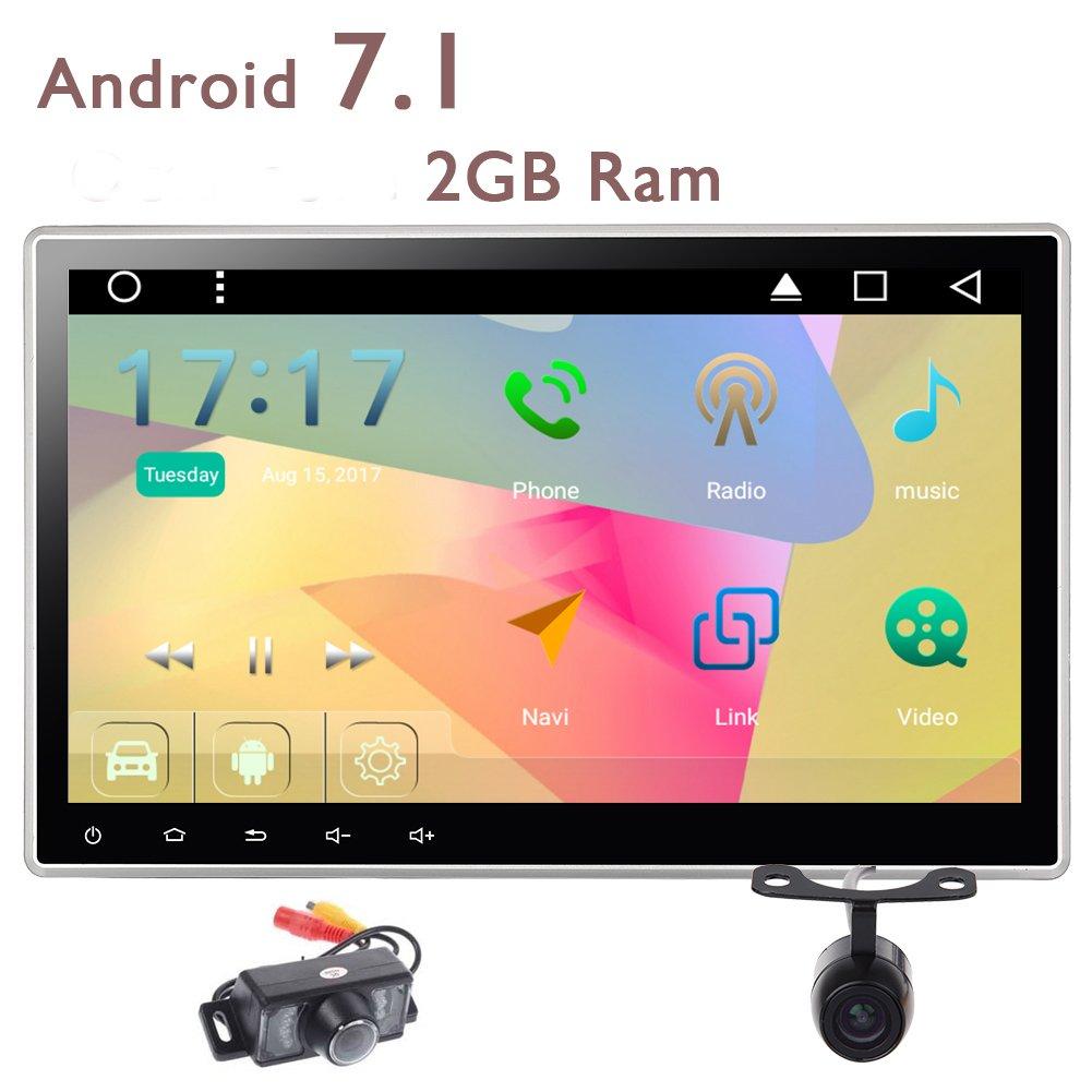 2ギガバイトのRAMダッシュヘッドユニットのサポートのBluetooth WIFI、3G、4G OBD2 FM AM RDSラジオUSBのSDで調節可能な視野角スクリーンのGPSカーステレオラジオ付き!Eincar 10.1インチダブル2ディンのAndroid 7.1 Autoradio付属フロントとバックカメラ B0761TBJJB
