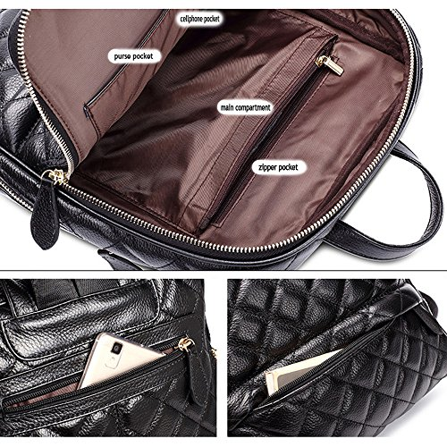 Nikauto femmes pour en sac Noir à dos cuir rpgw4nqrY