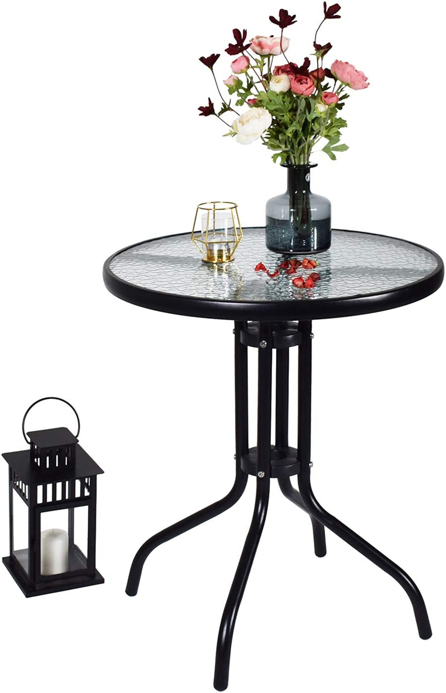 Love Peace 24 x 24 Outdoor Bistro Table Metal Round Patio Side Table Outdoor Coffee Table Furniture Garden Backyard Dining Table, W Elegant Water Ripple Glass Table Top, Black
