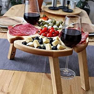 LEFUYAN Wooden Outdoor Folding Picnic Table,Wine Glass Rack, Snack and Cheese Holder Tray, Portable Mini Picnic Holder Table for Hiking,Camping,Outdoor Dinner (A)