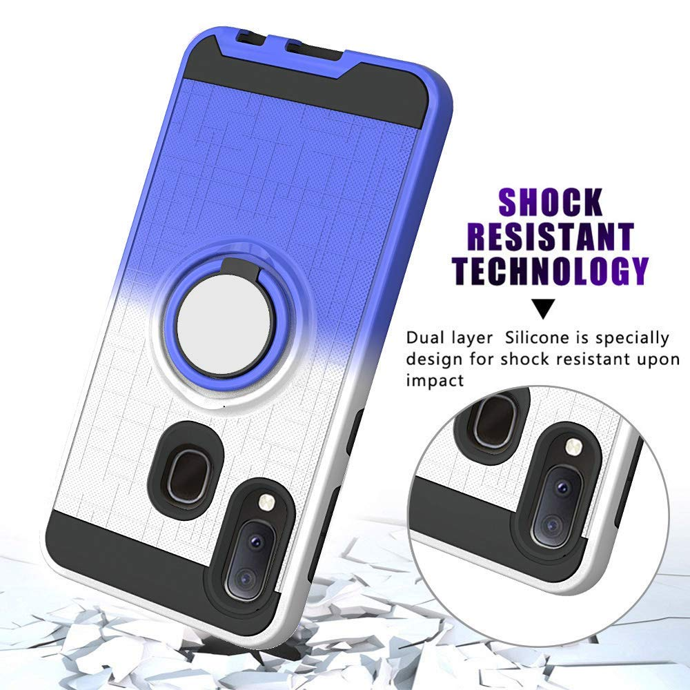 Compatible with Samsung Galaxy A20e Case,Galaxy A10e Phone Cover 360 Degree Rotating Ring Holder Kickstand Armor Heavy Duty Bumper Anti-Scratch Dual Layer Bracket Protective Fit Magnetic Car Mount