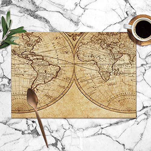 X-Large Vintage Map World 1733 Science Table Placemats for Dining Table,Washable Table Mats Heat-Resistant(12X18 Inch) Set of 6