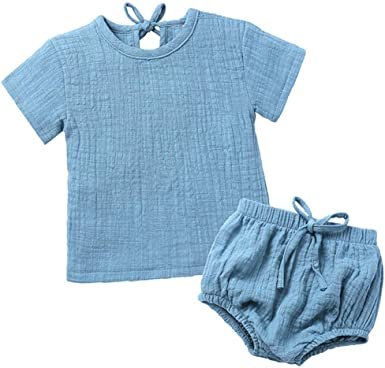 LOOLY Unisex Baby Girls Boys 3 Pack Cotton Linen Blend Bloomer Shorts