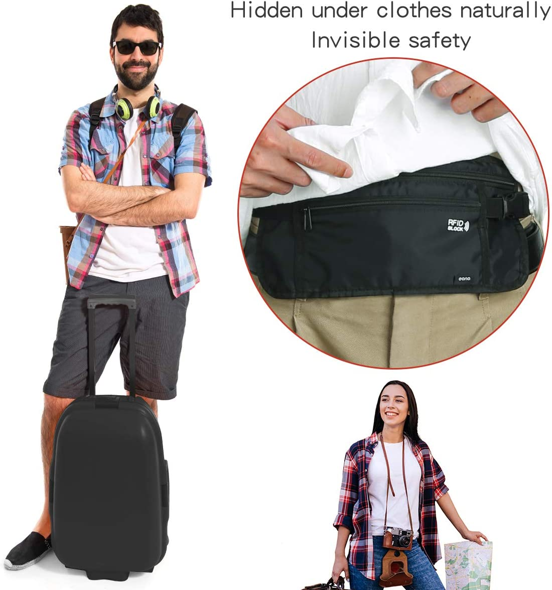 Keys /& Passport with Adjustable Elastic Strap Eono by RFID Hidden Security Money Pouch for Cash Cards Water Resistant Money Belt for Travelling